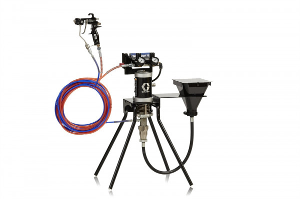 15:1 Merkur ES Air Assisted Package, 0.4 gpm (1.5 lpm) fluid flow, standard mount, with G15 gun, hopper, and plated steel 24W281
