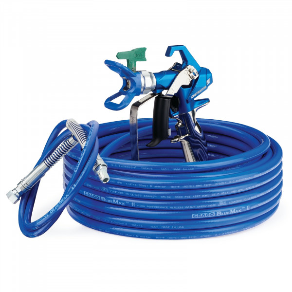 Contractor PC Airless Spray Gun, RAC X LP 517, BlueMax II Airless Hose 1/4 in x 50 ft, BlueMax II Airless Whip Hose 3/16 in x 4.5 ft 17Y051