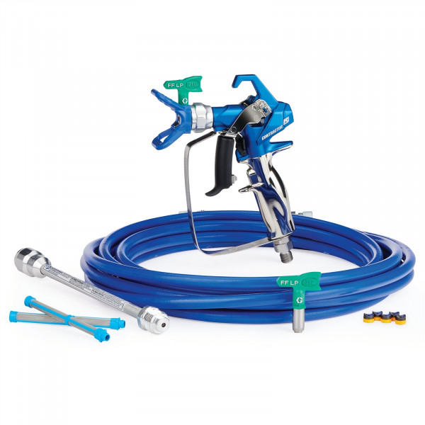 Contractor PC Airless Spray Gun, RAC X FF LP 210 & 312, BlueMax II Airless Hose 1/4 in x 25 ft, 10 in Extension, 2 - 100 Mesh Filter 17Y220