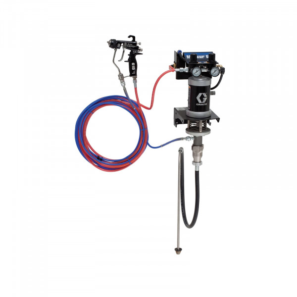 15:1 Merkur ES Air Assisted Package, 0.4 gpm (1.5 lpm) fluid flow, wall mount, with G15 gun, suction hose, and plated steel 24F150