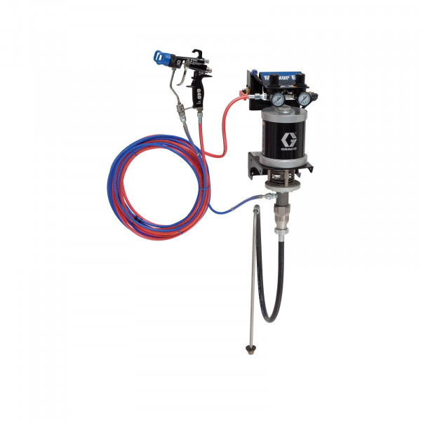30:1 Merkur ES Air Assisted Package, 0.4 gpm (1.5 lpm) fluid flow, wall mount, with G40 gun, suction hose, and plated steel 24F156