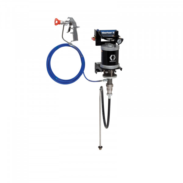 30:1 Merkur ES Airless Package, 0.4 gpm (1.5 lpm) fluid flow, wall mount, with Silver Plus gun, suction hose, and plated steel 24F154
