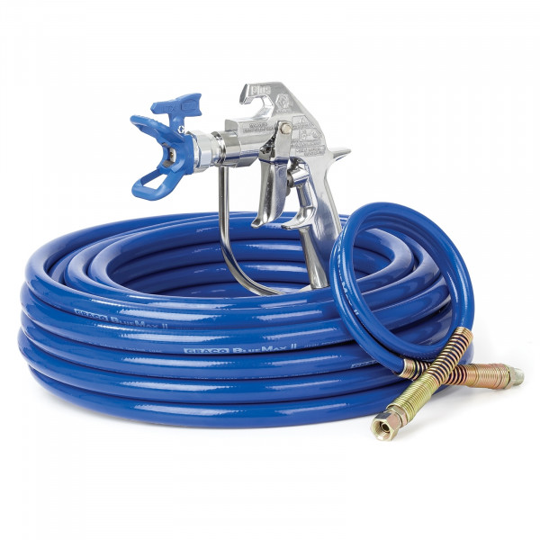 Silver Plus Airless Spray Gun, RAC X, BlueMax II Airless Hose, 1/4 in x 50 ft, 3 ft Whip Hose 287041