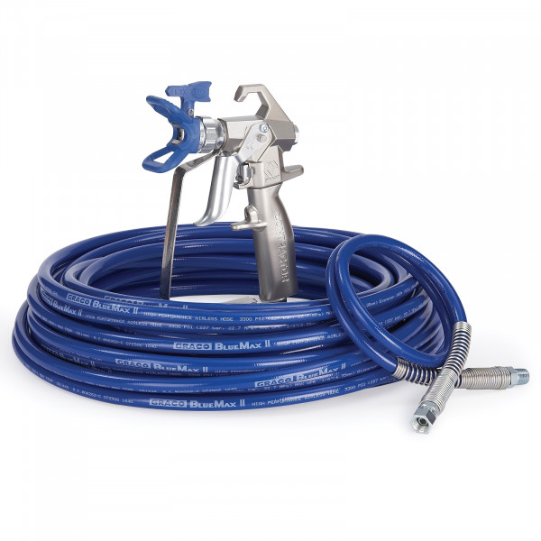 Contractor Airless Spray Gun, RAC X, BlueMax II Airless Hose, 1/4 in x 50 ft, 3 ft Whip Hose 288489