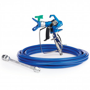 Contractor PC Airless Spray Gun, RAC X LP 517, BlueMax II Airless Hose 3/16 in x 25 ft, 10 in Extension 17Y219
