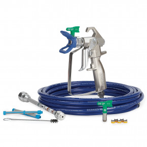 Contractor Airless Spray Gun, RAC X FF LP, BlueMax II Airless Hose, 3/16 in x 25 ft, 10 in Extension 288501